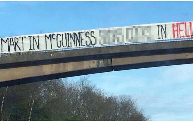 The offensive banner hung by Rangers FC fans above the M8 motorway.
