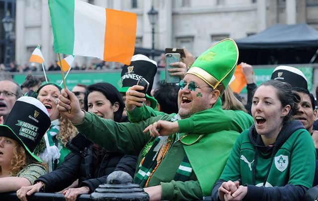 Irish in London pack out Trafalgar Square in celebration of St. Patrick's Day!