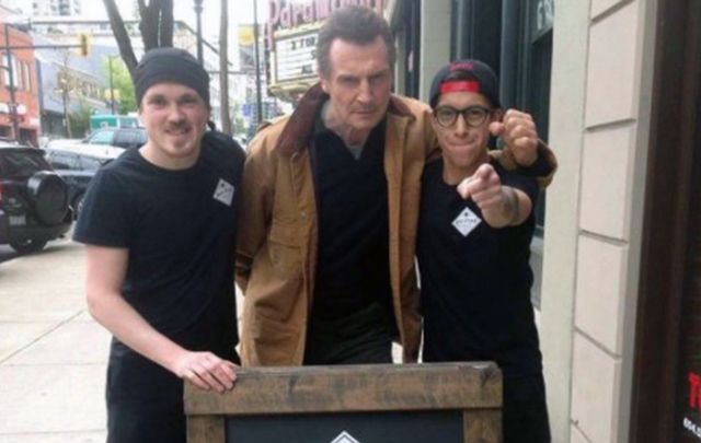 """Liam Neeson asks \""""Where\'s my sandwich?\""""...wouldn\'t you give this man a free lunch."""