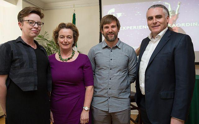 Author Belinda McKeon, Consul-General Barbara Jones, Gavan Hennigan, and Paul Fahy, Galway International Arts Festival's Artistic Director.