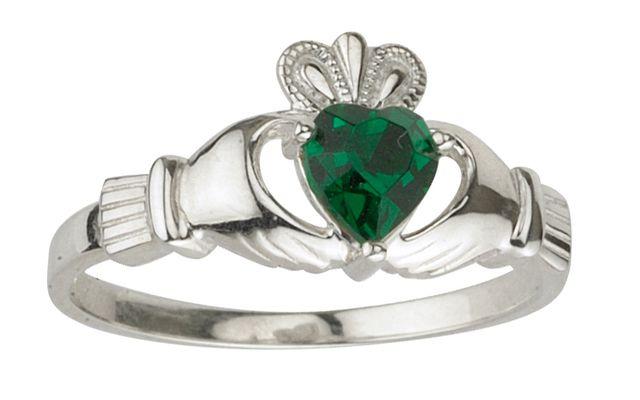 May Claddagh birthstone - emerald.