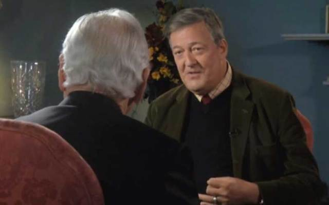 Stephen Fry talks to Gay Byrne on RTÉ's television program 'The Meaning of Life.'