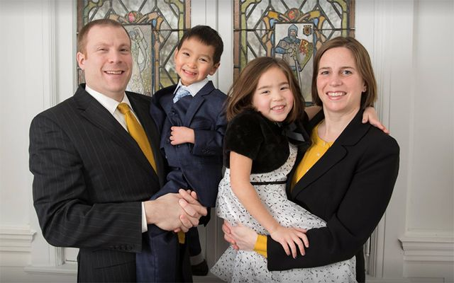 Mary McGinley, her husband Patrick Earley and their children Jack and Kristina.