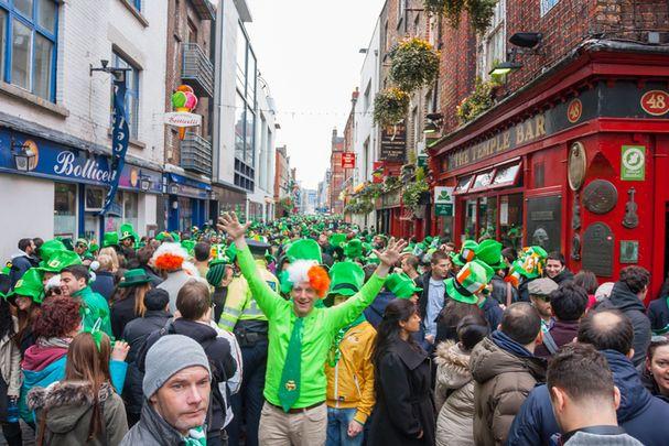 St. Patrick's Day celebrations in Dublin's Temple Bar in Ireland