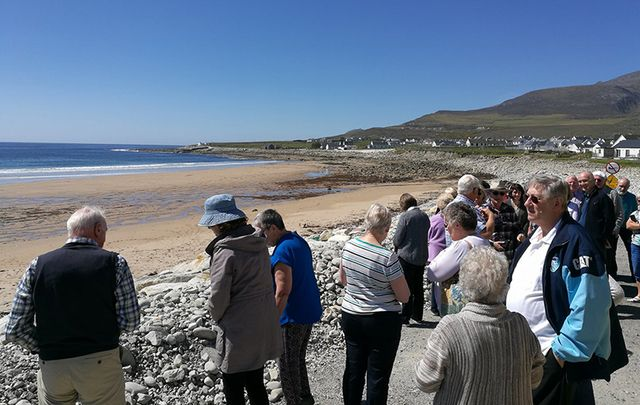 People are flocking to Dooagh Beach, on Achill Island, off Mayo.