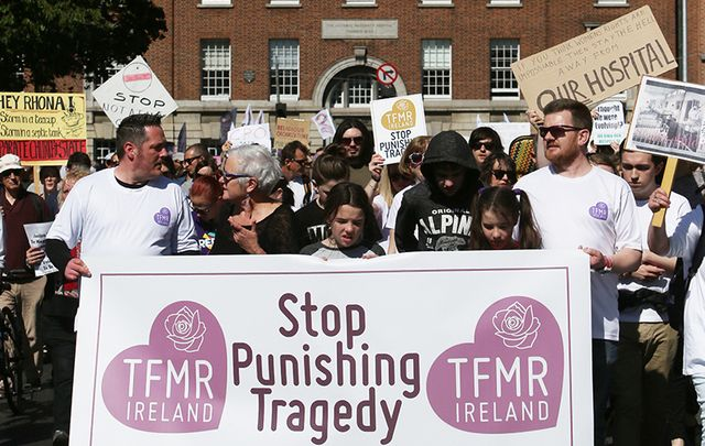 Thousands of people gathered in Dublin on Sunday to protest the new National Maternity Hospital going to the Sisters of Charity.