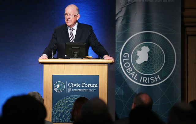 Foreign Affairs Minister Charlie Flanagan addresses the Global Irish Civic Forum.