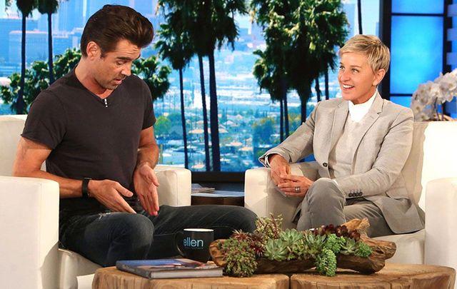 Colin Farrell and Ellen DeGeneres on Monday.