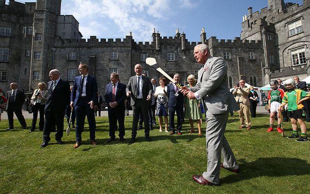 British Prince Charles plays hurling in Kilkenny.