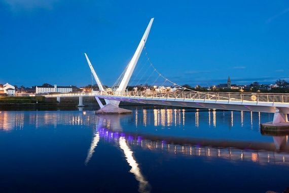 The Peace Bridge spanning the River Foyle in Derry.