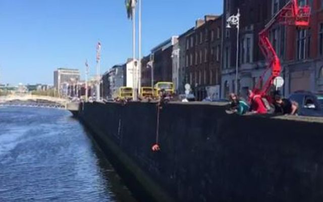 Two passersby save a cat from Dublin\'s River Liffey.
