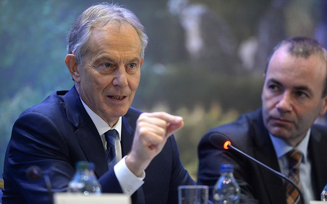 Tony Blair, Former British Prime Minister and Manfred Weber, Chairman, EPP Group pictured at the EPP conference in Druids Glen, Wicklow, Ireland on May 12, 2017.