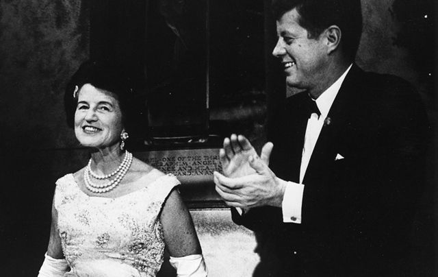 Rose and John F Kennedy photographed at a Joseph P. Kennedy Jr. Foundation awards dinner.