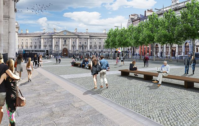Artist's impression of the proposed public plaza view of College Green towards Trinity College.