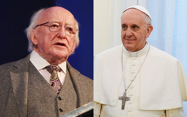 Irish President Michael D. Higgins and Pope Francis.