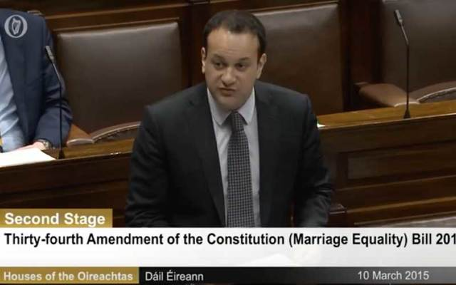 Irish minister Leo Varadkar addresses the Dáil.