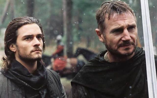 Movie still of Orlando Bloom and Liam Neeson in the 2005 film \'Kingdom of Heaven.\'
