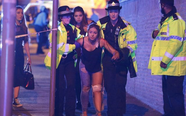 Manchester Arena terror attack: Injured teen aided by police.