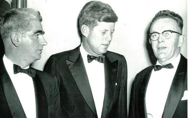 Sean P Keating (MC on the night, right), and Paul O\'Dwyer, of the Irish Institute, flank Senator John F Kennedy.