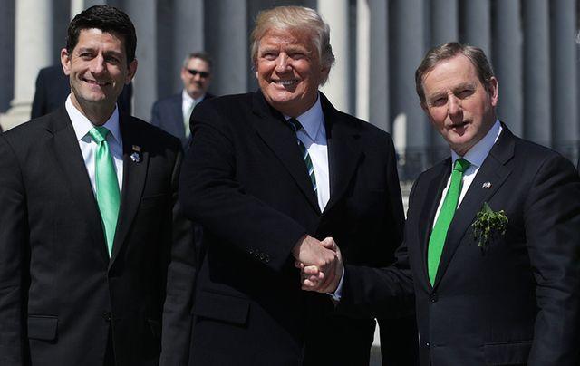 House Speaker Paul Ryan, President Donald Trump and Taoiseach Enda Kenny in Washington, D.C. on March 16.