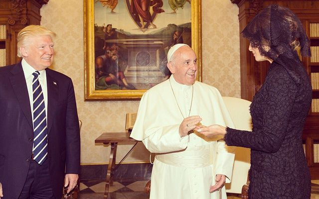 First Lady Melania Trump and President Donald J. Trump meeting with Pope Francis.