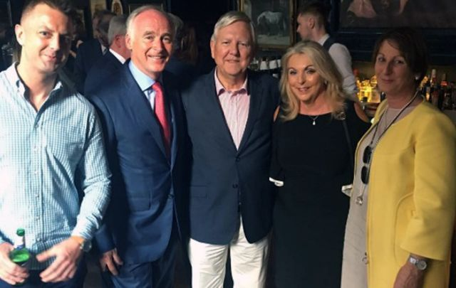 John Fitzpatrick (second from the left) celebrated with friends and family in Dublin.