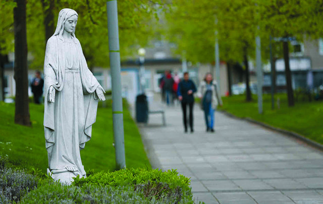 A statue of the Virgin Mary at the entrance to St. Vincent\'s Hospital.