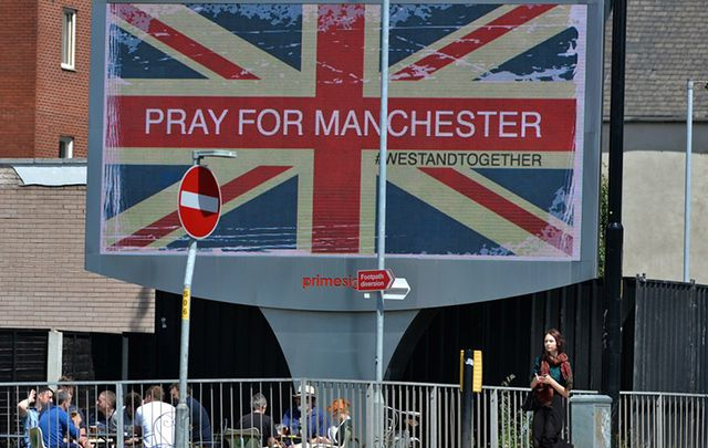 An electronic sign near the arena where the terrorist attack happened in Manchester last week.