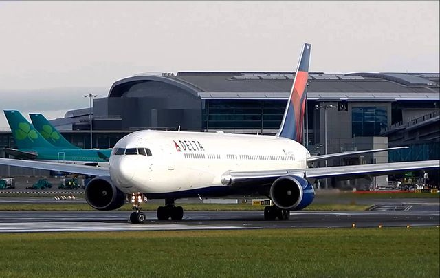 A Delta airplane taking off from Dublin Airport.