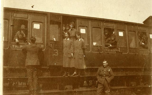 British Women's Army Auxiliary Corps members on a train during World War I.