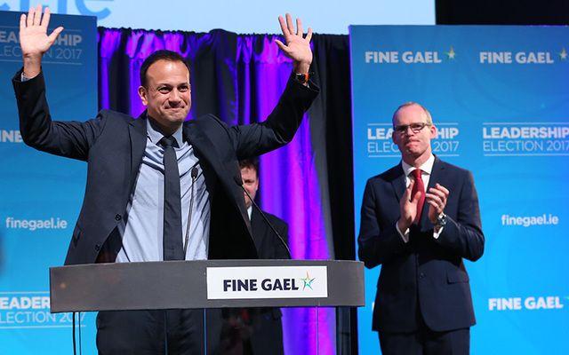 New Fine Gael leader Leo Varadkar celebrates his win.