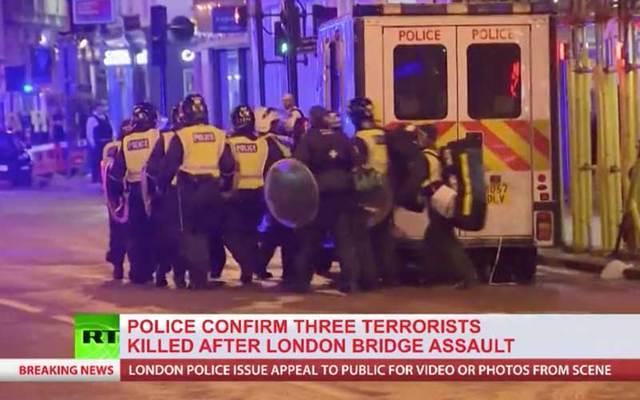 Screenshot of RT report on June 3 attack in London.