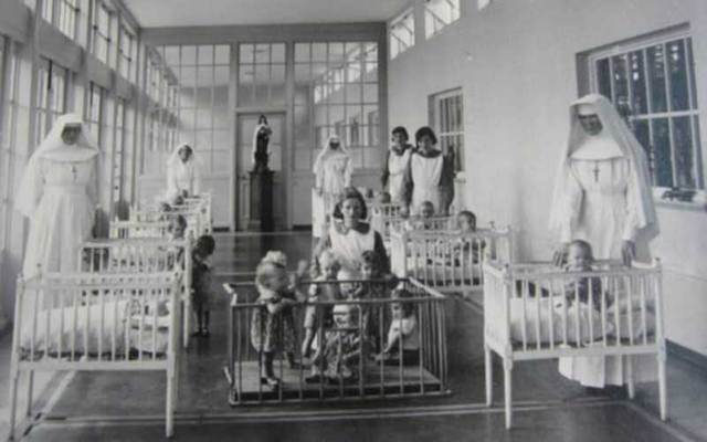 Children and nuns in a Mother and Baby Home.