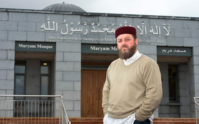 Imam Ibrahim Ahmad Noonan outside the Ballybrit, Galway Masjid Maryam mosque.