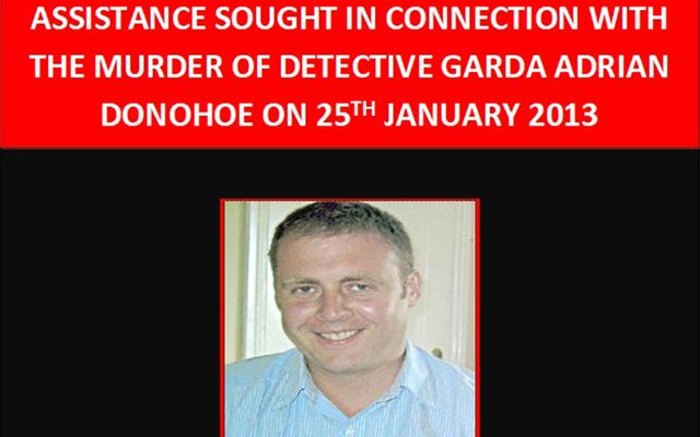 Detail of Irish police\'s poster requesting information on the man who killed Detective Garda Adrian Donohoe.