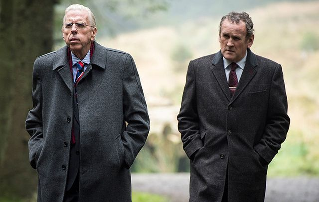 Timothy Spall and Colm Meaney in The Journey, as Ian Paisley and Martin McGuinness.