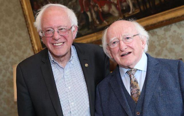 Senator Bernie Sanders meets with President Michael D Higgins.