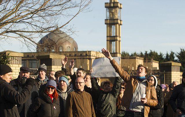 Anti Racism Ireland protest as Anti Islam Ireland protesters protest across from The Islamic Cultural Centre of Ireland in Dublin, in 2015.