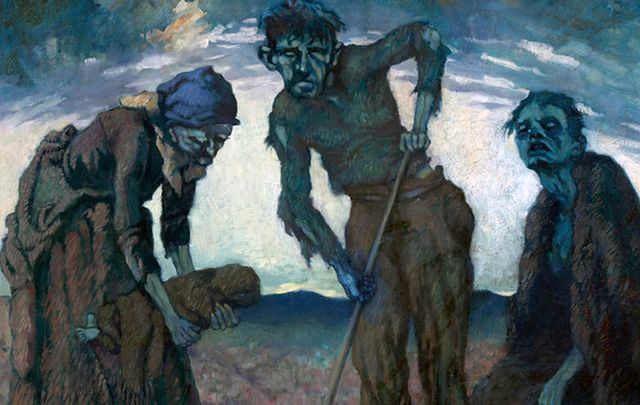 Painting called Gorta, previously known as Burying the Child, by Lilian Lucy Davidson.