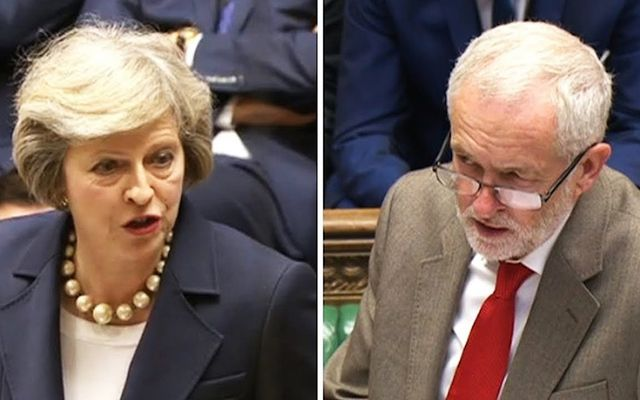Conservative leader Theresa May and Labour leader Jeremey Corben.