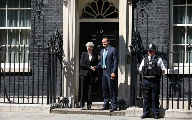 British Prime Minister Theresa May and Taoiseach Leo Varadkar outside 10 Downing St.