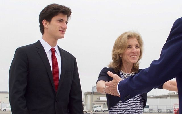 Jack Schloss berg with his mother Caroline Kennedy.