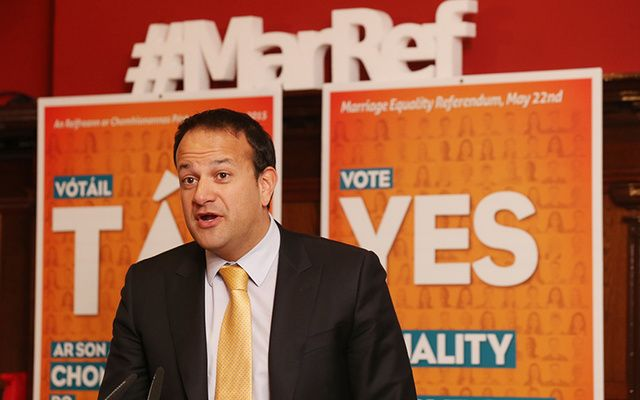 Leo Varadkar campaigning for a Yes vote before Ireland\'s Marriage Equality Referendum.