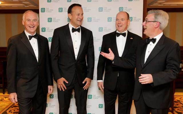 John Fitzpatrick, Chairman of The Ireland Funds America; An Taoiseach Leo Varadkar; Prince Albert II the Sovereign Prince of Monaco; Kieran McLoughlin, Worldwide President & CEO of The Ireland Funds.