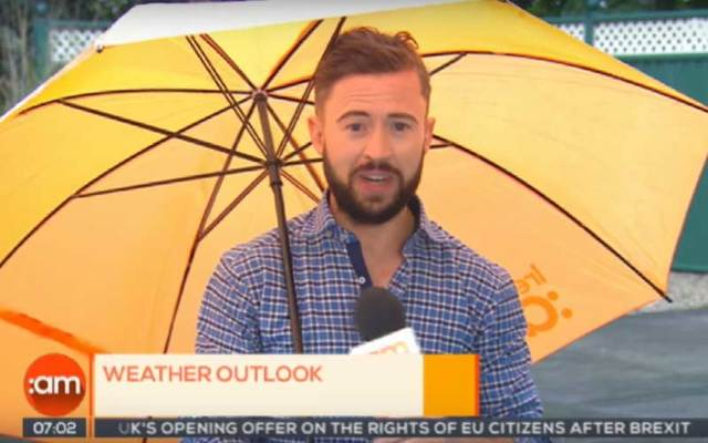 Screen grab of Deric Hartigan reporting the weather on \'Ireland:AM.\'