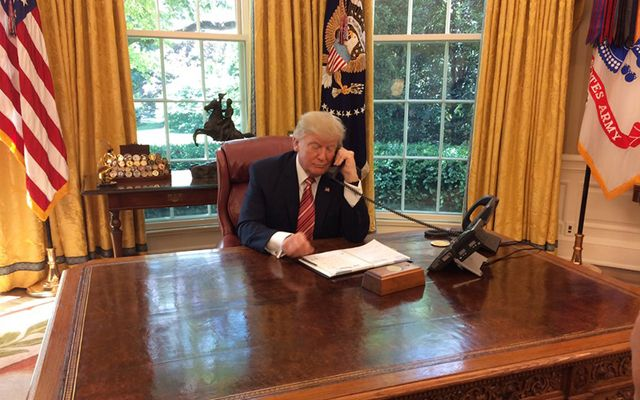 Trump made the unusual move of inviting journalists into the Oval Office as he called Leo Varadkar