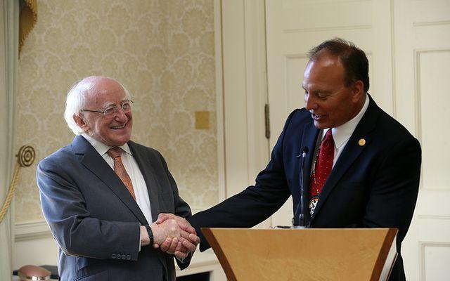 President of Ireland Michael D Higgins TD and Choctaw Nation Chief Gary Batton in Áras an Uachtaráin.