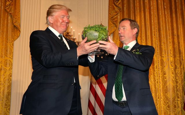President Trump and former Irish Taoiseach Enda Kenny on St. Patrick\'s Day in the White House.