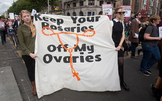 Members of the public at a rally in 2014 in favour of repealing the 8th Amendment to the Irish Constitution in favour of a more liberal law on a womans right to abortion facilities in Ireland.