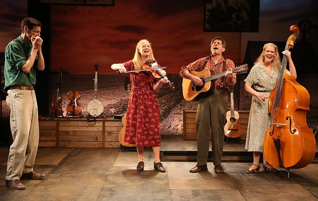 David M. Lutken, Megan Loomis, Andy Teirstein and Helen Jean Russell in Woody Sez.